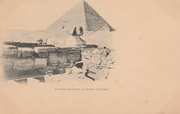CPA - EGYPTE - Pyramide De Chéops, Le Sphinx, Le Temble. Carte Nuage. Vierge. - Pyramides