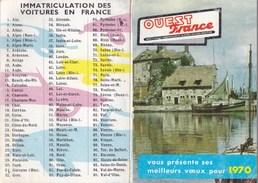 Calendrier Publicité OUEST FRANCE 1970 - Calendari