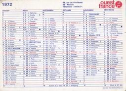Calendrier Publicité OUEST FRANCE 1972 - Calendriers