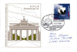 "(BRD-B4) BRD Sonder-Karte ""Berlin Brandenburger Tor"" Frankiert SST 9.11.10.1999 MARIENBORN - Covers & Documents"