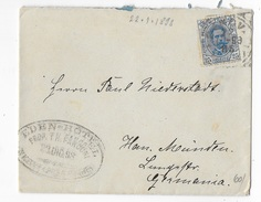 STORIA POSTALE REGNO - CENT 25 UMBERTO I° ISOLATO SU BUSTINA DA GENOVA PER LA GERMANIA 22.12.1898 - Storia Postale