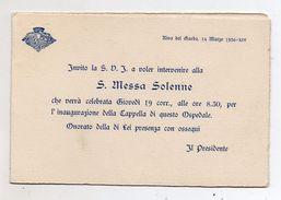 Italia - Riva Del Garda (Trento) - 1936 - Biglietto Di Invito Inaugurazione Cappella Locale Ospedale- (FDC5419) - Programmi