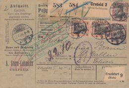 DR Paketkarte Mif Minr.2x 89I, 2x 91I Crefeld 12.11.06 Gel. In Schweiz - Deutschland