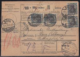DR Paketkarte Mef Minr.16x 104 Bühl 9.6.20 Gel. In Schweiz - Deutschland