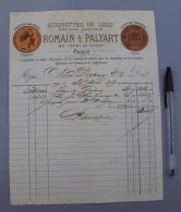 75 006 France, Facture, Paris, Romain & Palyart, Imprimerie Etiquettes De Luxe, 1869 - 1800 – 1899