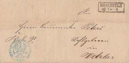 Brief R2 Braunfels 30.7. Gel. Nach Wetzlar - Preussen
