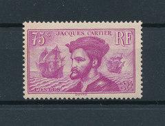 FRANCE 1934 - Jacques Cartier 75 Cts Violet Yvert 296 ** Neuf Sans Charnière MNH - Unused Stamps