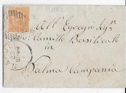 STORIA POSTALE REGNO - ANNULLO NUMERALE NAPOLI 19 SU BUSTINA CON CONTENUTO 23.12.1883 - 1878-00 Umberto I