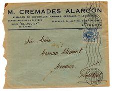 Carta Con Matasellos De Rodillo Alicante  De 1923. Con Publicidad  De Almacen . - 1889-1931 Regno: Alfonso XIII