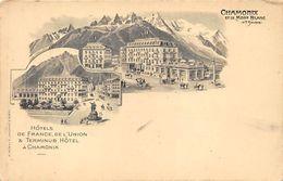 CPA - Hôtels De France Et De L'Union, Et Terminus Hotel A Chamonix - Chamonix-Mont-Blanc