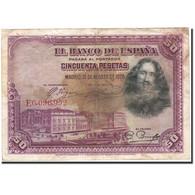 Espagne, 50 Pesetas, 1928, KM:75b, 1928-08-15, B+ - 50 Pesetas