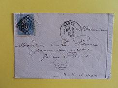 EMPIRE LAURE 29 SUR LETTRE DE NANCY A PARIS DU 4 NOVEMBRE 1869 (GROS CHIFFRE 2598) - Marcophilie (Lettres)