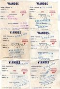 6 VIGNETTES FISCALES TRANSPORT AUTOCOLLANTES Viandes Enlèvement  AUX CARGOTS  Clichy  *1K *3K * 5K *20K *50K *100K  139 - Revenue Stamps