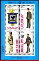 Ref. UR-1058 URUGUAY 1980 POLICE, POLICE FORCE SESQUICENT.,, COAT OF ARM, DATED 1979, MI# B46, MNH 4V Sc# 1058 - Police - Gendarmerie