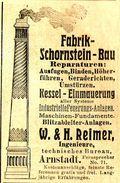 Original-Werbung/ Anzeige 1905 - FABRIK - SCHORNSTEIN - BAU / REIMER - ARNSTADT - Ca. 45 X 75 Mm - Pubblicitari
