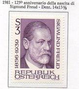PIA - AUSTRIA - 1981 : 125° Anniversario Della Nascita Di Sigmund Freud -    (Yv  1497) - 1981-90 Nuovi & Linguelle