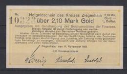 Dt.Reich Notgeldschein Des Kreises Ziegenhain über 2,10 Mark Gold, Kassenfrisch - Zwischenscheine - Schatzanweisungen