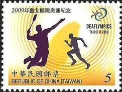 NT$5.00 2009 21st Deaflympics Stamp Olympic Games IOC Badminton Map Disabled Deaf - Handicaps