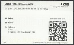 """Austria, Wienna, """"VOR"""", 24 Hours Ticket, 2017. - Europa"""