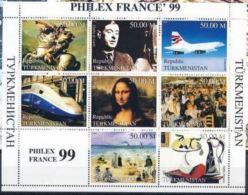 Turkmenistan  1999  Philexfrance 99 Charles De GAULLE  Eurostar Napoléon Joconde - De Gaulle (General)