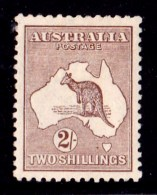 Australia 1916 Kangaroo 2/- Brown 3rd Watermark MH - Mint Stamps