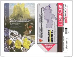 SCHEDA TELEFONICA USATA BILINGUE Parchi Naturali Dolomiti Di Sesto AA97 -  AV2 - Italia