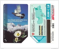 SCHEDA TELEFONICA USATA BILINGUE Parchi Naturali Vedrette AA98 -  AV2 - Italia