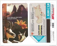 SCHEDA TELEFONICA USATA BILINGUE Parchi Naturali Sciliar AA92 -  AV2 - Italia