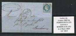 FRANCE- Lettre Du 6 Mars 1869 De PERIGUEUX (23) Pour BORDEAUX (32)- Y&T N°29B - GC 2813 - Marcophilie (Lettres)