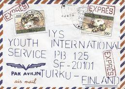 Togo 1994 Lome Aviation Python Snake Express Cover - Togo (1960-...)