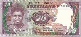 SWAZILAND 20 EMALANGENI 1986 PICK 12a UNC - Swaziland