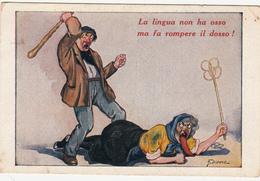 """HUMOR_CARICATURE_SATIRA_UMORISMO_""""La Lingua Non Ha...."""" Illustratore DIDONE_Serie 2-60- Originale 100%- - Humour"""