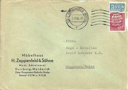 """Busta Pubblicitaria, 20 Deutsche Bundespost + 2 Berlin Notopfer Steuermarke, """"H.Zeppenfeld & Sohne"""" Duisburg - Meiderich - [7] Repubblica Federale"""