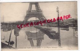 75 - PARIS - INONDATIONS DE PARIS JANVIER 1910- LES WAGONS SUBMERGES- TOUR EIFFEL - Paris Flood, 1910