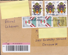 Lebanon Registered Recommandé Einschreiben Label BEYROUTH 2015 Cover Brief BRØNDBY STRAND Denmark Olympic Games (2 Scans - Libanon