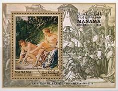 Boucher Diana Nach Dem Bad 1971 Manama Block 104 O 3€ Aktgemälde Hoja Art Bloc Ms Painting Sheet Ss Bf VAE Adschman - Gemälde