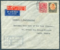 1938 Thailand KLM Airmail Cover Commercial Bank Of Siam - National City Bank Of New York, Paris, France - Thailand