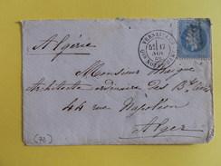 EMPIRE LAURE 29 SUR LETTRE DE VERSAILLES QUARTIER NOTRE DAME A ALGER DU 17 NOVEMBRE 1869 (GROS CHIFFRE 4158A) - 1849-1876: Classic Period