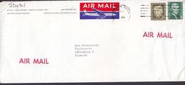 United States Air Mail Aeroplane Label BOSTON Mass. 197? Cover Brief Denmark Marshall & Jefferson Stamps - Luftpost