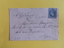 EMPIRE LAURE 29 SUR LETTRE DE VERSAILLES QUARTIER NOTRE DAME A ALGER DU 1 JUILLET 1870 (GROS CHIFFRE 4158A) - 1849-1876: Classic Period