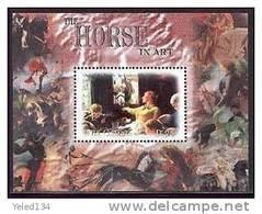 MINT NEVER HINGED SOUVENIR SHEET PAINTINGS OF HORSES  #  052-4   ( GAMBIA  2368 - Horses