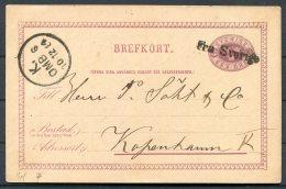1884 Stationery Postcard FRA SVERIGE Paquebot Landskrona - Copenhagen - Sweden