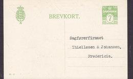 Denmark Postal Stationery Ganzsache Entier (82-H) 7 Øre Wellenlinien (Uncancelled) ODENSE 1926 FREDERICIA (2 Scans) - Ganzsachen