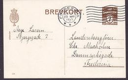 Denmark Postal Stationery Ganzsache Entier (153) 7 Øre Wellenlinien FREDERICIA 1945 (2 Scans) - Ganzsachen