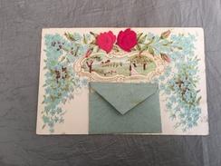 Cpa Brodée Gaufrée 1903 Et Enveloppe Collée - Brodées