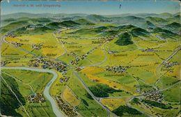 AK Frankfurt Höchst, Landkarte, Panorama, Um 1919, Sehr Großer Eckknick Unten Links, Druckstellen (15461) - Frankfurt A. Main
