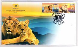 INDONESIA 2017--5 100TH LIONS CLUB INTERNATIONAL TIGER FDC STAMPS MNH - Indonésie