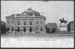 1903 Switzerland Geneve Le Theatre Et Statue Du General Dufour Postcard - East Rudham, Norfolk. Ambulant No 1 Railway - Cartas