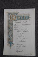 Menu Daté Du 17 Mai 1894 Sur Papier Glacé. - Menus