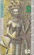 Cambodia Phonecard  Tempel Figur - Kambodscha